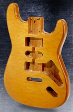 Stratocaster Style Body HSH Bound, Quilted Maple Top Vintage Natural