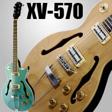 XV-570 Rockabilly Semi Hollowbody Trapeze, Minitrons