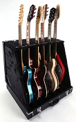 Black Tolex 6 Guitar Folding Case- DELUXE version- Folds to briefcase!