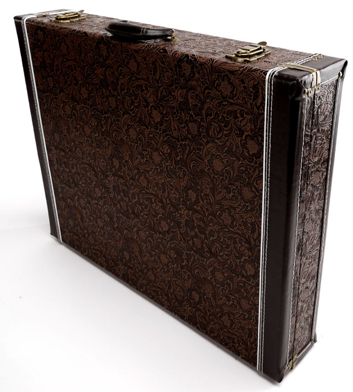 premium tooled leather 6 guitar case folds to briefcase our best. Black Bedroom Furniture Sets. Home Design Ideas