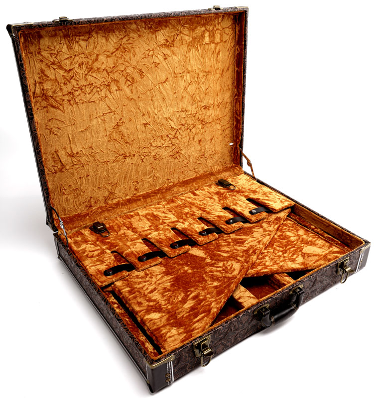 Premium Quot Tooled Leather Quot 6 Guitar Case Folds To Briefcase