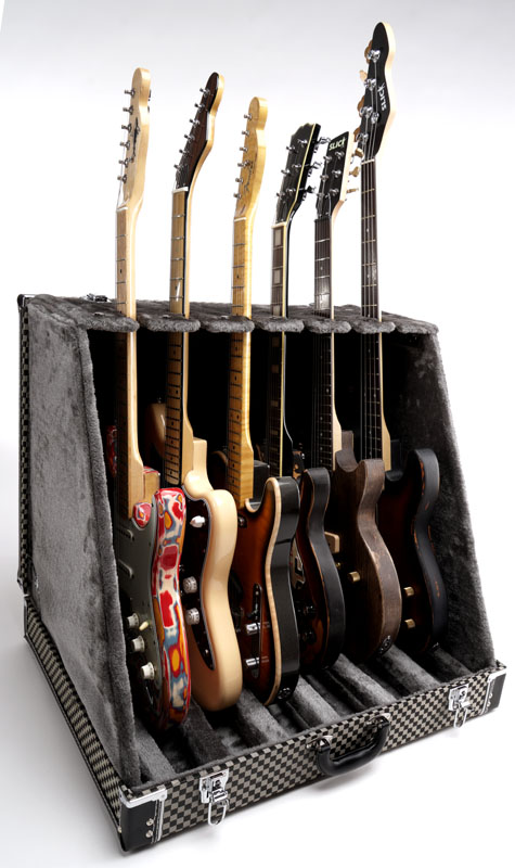 "Premium ""Checkerboard Finish""  6 Guitar Case- Folds to Briefcase! OUR BEST!"