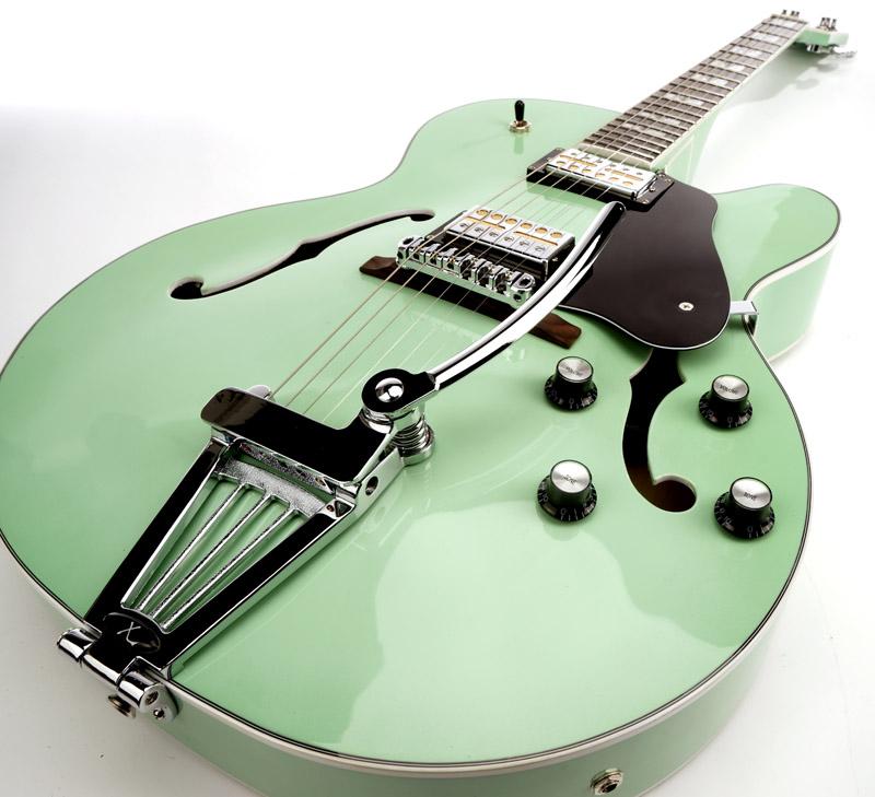 xaviere xv 975 big body jazz guitar gold foil pickups surf green. Black Bedroom Furniture Sets. Home Design Ideas