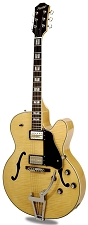 Xaviere XV-975 Big Body Jazz Guitar Gold Foil Pickups Clear Gloss Flame - Blem
