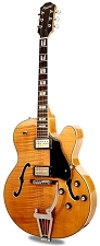 Xaviere XV-975 Big Body Jazz Guitar Gold Foil Pickups Vintage Natural Flame Maple - Blem