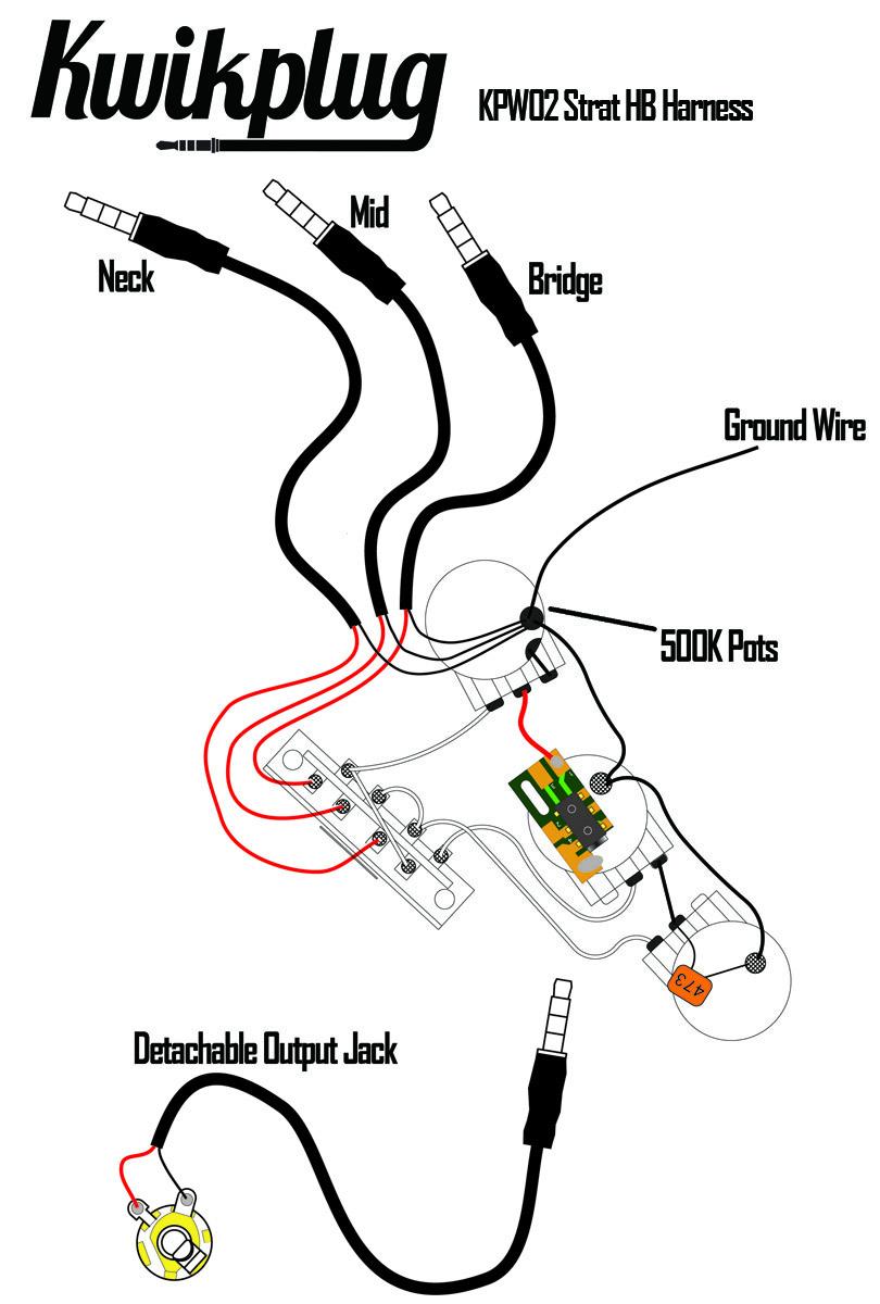kwikplug strat hsh  hss humbucker wiring harness