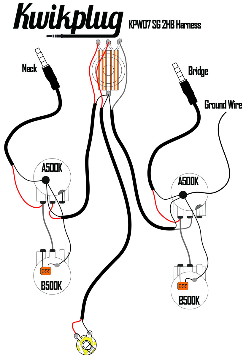 KPW07_Schem kwikplug sg 2 humbucker wiring harness pre soldered drop in Wiring Harness Diagram at gsmx.co