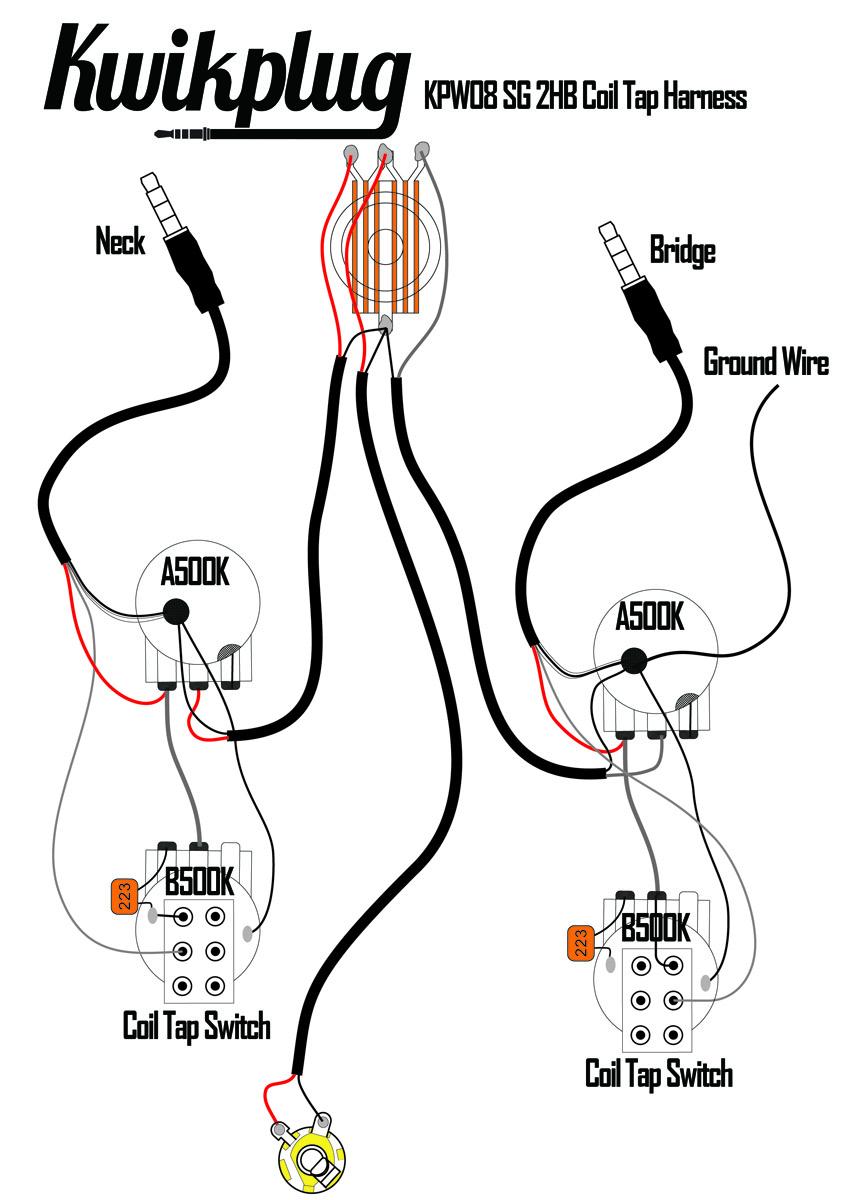 Kwikplug Sg Dual Coil Tap Humbucker Wiring Harness