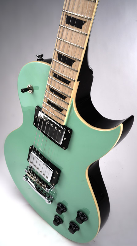 Xv carved top flamed surf green maple fingerboard