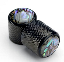 Black Tele Knobs Real Abalone Shell Tops