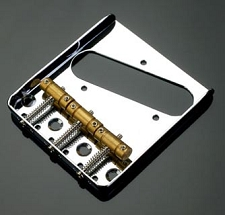 LEFTY 3 Brass Saddle Tele Bridge Chrome - IN STOCK!