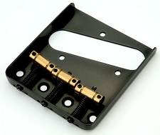 "Lefty ""Vintage Style"" Tele bridge 3 Brass Saddles Black"