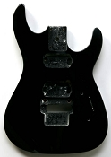 """Dinky"" style HH body cut for Floyd Rose Trem. Solid Poplar Gloss Black. - Blem"