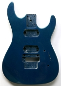 """Dinky"" style HH body cut for Floyd Rose Trem. Solid Poplar Blue Metalflake - Blem"