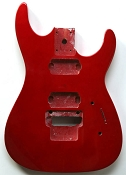 """Dinky"" style HH body cut for Floyd Rose Trem. Solid Poplar Red Metalflake - Blem"