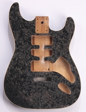 Mother of Pearl Strat Body, Tremolo Rout,  HSH Charcoal Celluloid, Cream Binding