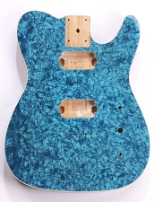 Mother of Pearl Tele Body 2 Humbuckers Blue Celluloid, Cream Binding