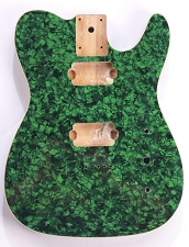 Mother of Pearl Tele Body 2 Humbuckers Green Celluloid, Cream Binding