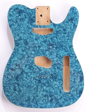 Mother of Pearl Tele Body Blue Celluloid, Cream Binding, Single Coil Routed