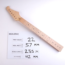 6 in Line.  Unfinished, Maple Neck with Maple Fingerboard - No Frets