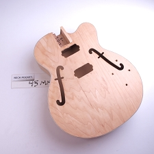 Full Sized HOLLOW Body All Laminated Maple, Single Cutway, HH, F Holes