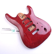Gloss Finished, See-Through Red, Solid Ash, Double Cutway Body, HSH
