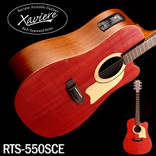 Xaviere ALL WOOD Red Acoustic/Electric Cutaway Raised Grain Dreadnaught