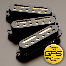 KP - GFS Gold Foil Single Coil Strat Pickups, Black - Kwikplug™ Ready