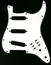 3 Ply White BHM Style SSS Pickguard for Strat