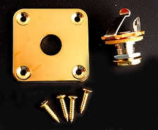 Square Gold Output Plate- Les paul, Telecaster Fit- FREE jack and screws!