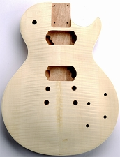 Unfinished LP Carved Top Body- SOLID Mahogany- Flamed Maple Veneer- Bolt On - Free Rear Plates!