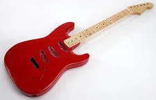 SPECIAL PURCHASE! Rocket Red Strat Style GLUED-IN Setneck, 3 single coils TOP MOUNT, Maple F/B