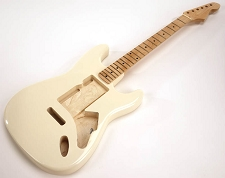 SPECIAL PURCHASE! Ivory Strat Style GLUED-IN Setneck, Swimming Pool Rout TOP, Maple F/B