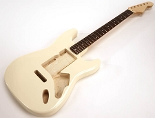 SPECIAL PURCHASE! Ivory Strat Style GLUED-IN Setneck, Swimming Pool Rout TOP, Rosewood F/B
