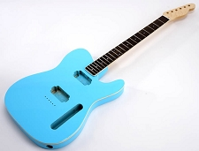 SPECIAL PURCHASE! BOUND Daphne Blue Tele Style GLUED-IN Setneck, 2 Humbucker Rosewood F/B