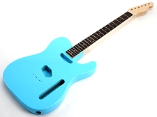 SPECIAL PURCHASE! Daphne Blue Tele Style GLUED-IN Setneck, Traditional Single Coil Rosewood F/B
