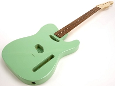 SPECIAL PURCHASE! Surf Green Tele Style GLUED-IN Setneck, Traditional Single Coil Rosewood F/B