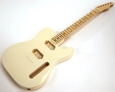 SPECIAL PURCHASE! BOUND Ivory Tele Style GLUED-IN Setneck, 2 Humbucker Maple F/B