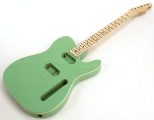 SPECIAL PURCHASE! BOUND Surf Green Tele Style GLUED-IN Setneck, 2 Humbucker Maple F/B