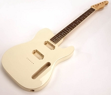 SPECIAL PURCHASE! BOUND Ivory Tele Style GLUED-IN Setneck, 2 Humbucker Rosewood F/B