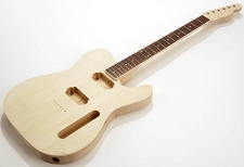 SPECIAL PURCHASE! BOUND Unfinished Tele Style GLUED-IN Setneck, 2 Humbucker Rosewood F/B