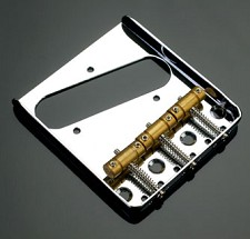 3 Brass Saddle Tele Bridge Chrome - IN STOCK!