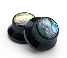Black Bell Knobs Real Abalone Tops