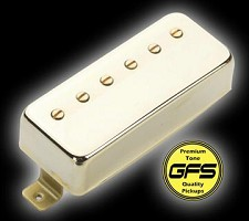 KP - Little Crunchy Mini Humbuckers- Gold Case and trim ring  - Kwikplug™ Ready