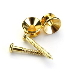 Pair Classic Strap Buttons Gold Free Screws