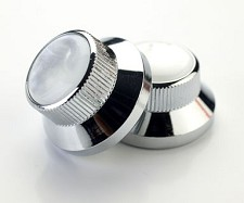 Skirted Solid Brass Chromed Knobs with Mother of Pearl Tops