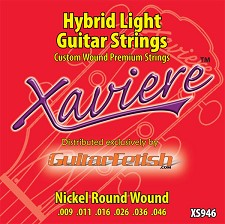 Full Case of 12 Sets .009-.046Xaviere Hybrid Light Strings