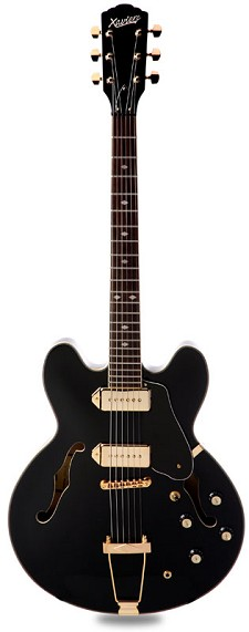 XV-910 Semi Hollowbody Gold Hardware, Alnico P90s, Gloss Black -Blem