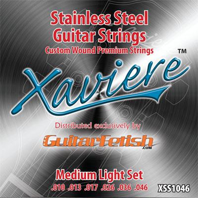case of 12 sets xaviere stainess steel strings medium light gauge. Black Bedroom Furniture Sets. Home Design Ideas