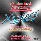Case of 12 Sets- Xaviere Stainess Steel Strings Medium Light Gauge